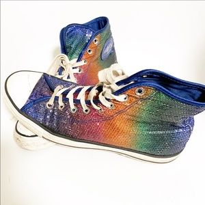 Pride shine! Converse sequin high tops